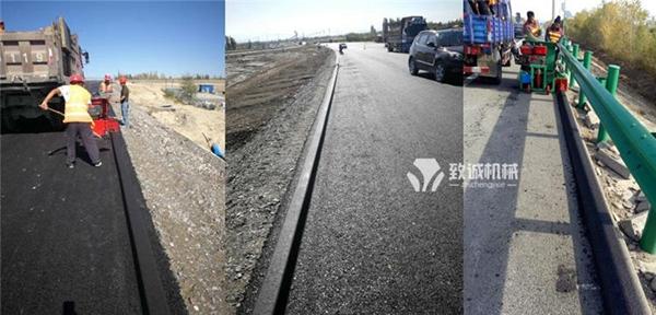 沥青砂拦水带滑模机施工现场